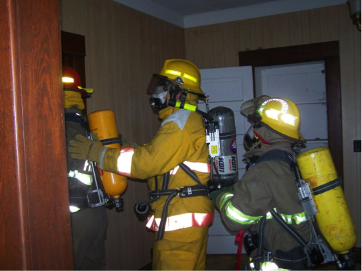 Firefighters Practicing Indoors